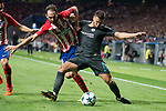 Atletico de Madrid's Juanfran Torres and Chelsea's Eden Hazard during UEFA Champions League match between Atletico de Madrid and Chelsea at Wanda Metropolitano in Madrid, Spain September 27, 2017. (ALTERPHOTOS/Borja B.Hojas)