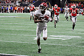 January 8th 2018, Atlanta, GA, USA; Alabama Crimson Tide wide receiver DeVonta Smith (6) hauls in the game winning touchdown reception to win the College Football Playoff National Championship Game between the Alabama Crimson Tide and the Georgia Bulldogs on January 8, 2018 at Mercedes-Benz Stadium in Atlanta, GA.