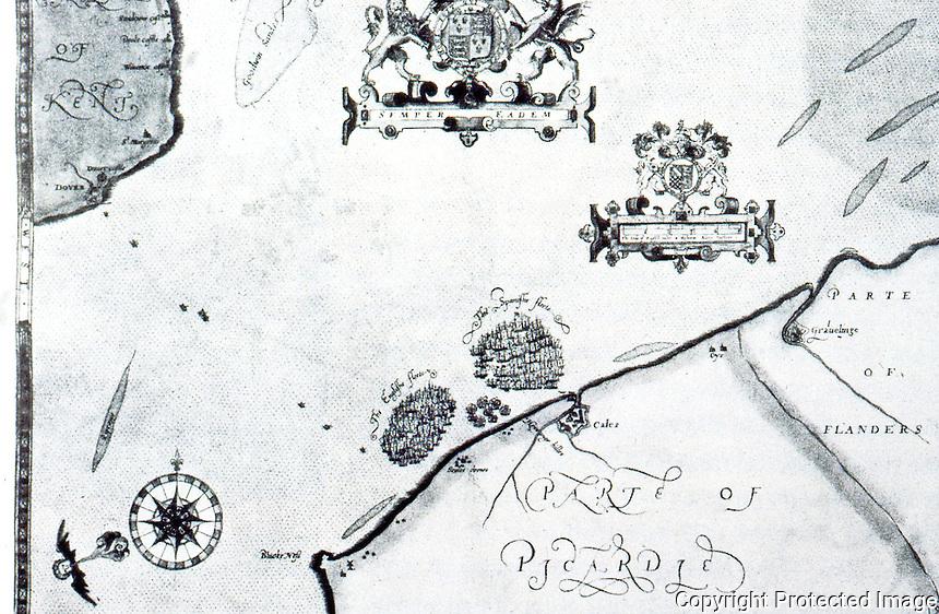 Maps:  The First Spanish Armada, Progress #3.  Sun., 28 July--English (left) & Spanish fleets off Calais Roads.  Photo '84.