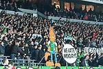 12.03.2018, Weserstadion, Bremen, GER, 1.FBL, SV Werder Bremen vs 1. FC Koeln<br /> <br /> im Bild<br /> Fans von Werder Bremen in der Ostkurve bejubeln 3:1 und Sieg gegen 1. FC K&ouml;ln / Koeln hinter Protest-Plakat gegen Montagsspiele &quot;We hate Mondays&quot;, <br /> <br /> Foto &copy; nordphoto / Ewert