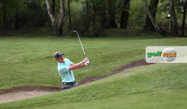 Luke Donald (ENG) plays out of the bunker on the 9th during Round Two of the 2015 BMW PGA Championship over the West Course at Wentworth, Virginia Water, London. 22/05/2015Picture David Lloyd, www.golffile.ie.