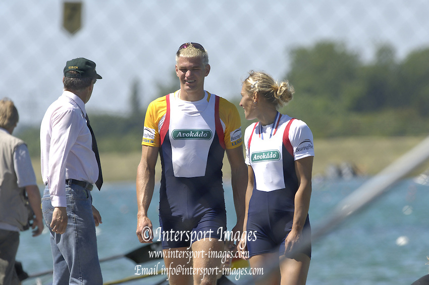2005 FISA Rowing World Cup Munich,GERMANY. 19.06.2005; CZE W1X Mirka Knapova right and Ondrej Synek.Photo  Peter Spurrier. .email images@intersport-images.[Mandatory Credit Peter Spurrier/ Intersport Images] Rowing Course, Olympic Regatta Rowing Course, Munich, GERMANY