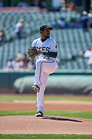 Salt Lake Bees starting pitcher Ivan Pineyro (29) delivers a pitch to the plate against the Albuquerque Isotopes at Smith's Ballpark on April 22, 2018 in Salt Lake City, Utah. The Bees defeated the Isotopes 11-9. (Stephen Smith/Four Seam Images)