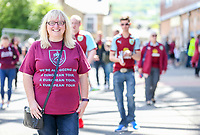 A Burnley fan poses for a photo before the match<br /> <br /> Photographer Alex Dodd/CameraSport<br /> <br /> The Premier League - Burnley v Bournemouth - Sunday 13th May 2018 - Turf Moor - Burnley<br /> <br /> World Copyright &copy; 2018 CameraSport. All rights reserved. 43 Linden Ave. Countesthorpe. Leicester. England. LE8 5PG - Tel: +44 (0) 116 277 4147 - admin@camerasport.com - www.camerasport.com