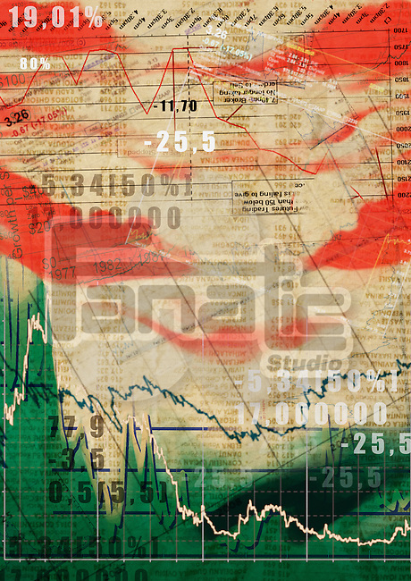 Illustrative image of sheet with stock market data
