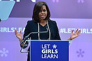 "Washington, DC - April 13, 2016: U.S. first lady Michelle Obama speaks about the ""Let Girls Learn"" initiative during an event at the IMF/World Bank Spring Meetings in the District of Columbia, April 13, 2016. Let Girls Learn helps adolescent girls around the world attend and complete school.  (Photo by Don Baxter/Media Images International)"