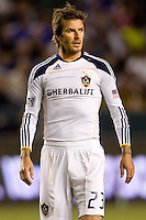LA Galaxy midfielder David Beckham moves to the ball after interring the game. The LA Galaxy defeated the Columbus Crew 3-1 at Home Depot Center stadium in Carson, California on Saturday Sept 11, 2010.