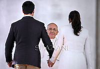 Pope Francis meets   engaged couples in the Valentine's Day in a special audience in St. Peter's Square at the Vatican.. Febraury 14, 2014