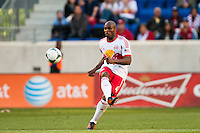 Jamison Olave (4) of the New York Red Bulls passes the ball. The New York Red Bulls and the Columbus Crew played to a 2-2 tie during a Major League Soccer (MLS) match at Red Bull Arena in Harrison, NJ, on May 26, 2013.