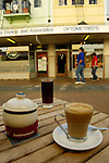 Coffee at an outdoor cafe on New Regent Street, Christchurch, New Zealand