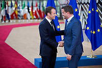 Le Pr&eacute;sident fran&ccedil;ais Emmanuel Macron et le Premier Ministre luxembourgeois Xavier Bettel, lors du Sommet Europ&eacute;en &agrave; Bruxelles.<br /> Belgique, Bruxelles, 22 juin 2017.<br /> French President Emmanuel Macron and Prime Minister of Luxembourg Xavier Bettel attend the European Council in Brussels.<br /> Belgium, Brussels, 22 June, 2017.
