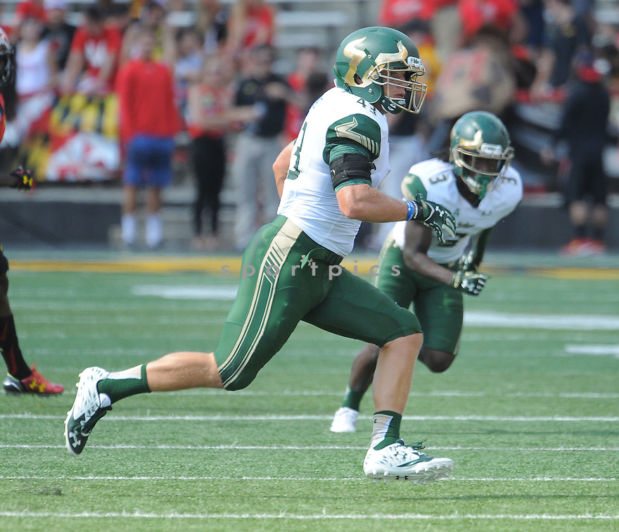 South Florida Bulls Auggie Sanchez (43) during a game against the Maryland Terrapins on September 19, 2015 at Byrd Stadium in College Park, MD. Maryland beat South Florida 35-17.
