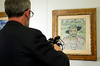 Painting by Vincent Van Gogh, The gardener, stolen and found in Rome on 1998<br /> Rome May 3rd 2019. Quirinale Palace. Preview of the exhibition 'The art of rescuing art' , a collection of antique artworks, paintings, statues, jewelry and terracotta artefacts rescued from the command of Carabinieri for the protection of the cultural heritage in 50 years.  Many of these artworks were stolen on commission for private collections.<br /> Photo di Samantha Zucchi/Insidefoto