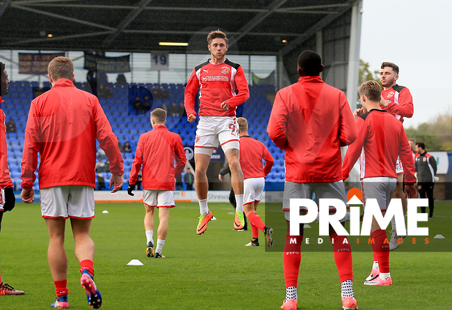 Wes Burns of Fleetwood Town warming up prior to the Sky Bet League 1 match between Shrewsbury Town and Fleetwood Town at Greenhous Meadow, Shrewsbury, England on 21 October 2017. Photo by Leila Coker / PRiME Media Images.