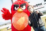 "Jose Mota playing with Red Bird during the presentation of the film ""Angry Birds"" at Hipodromo de Zarzuela in Madrid. April 25,2016. (ALTERPHOTOS/Borja B.Hojas)"