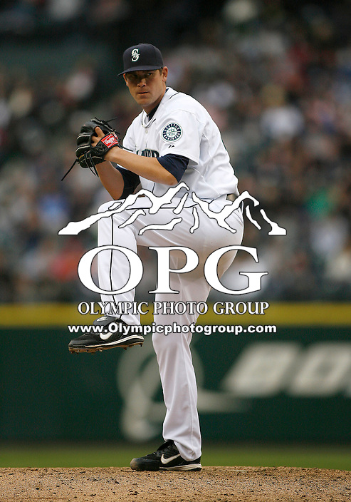 12 April 2010: Seattle Mariners relief pitcher #46 Sean White fires the ball to the plate against the Oakland A's.  Oakland won 4-0 over Seattle at Safeco Field in Seattle, Washington.