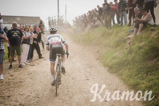 Mihkel Raïm (EST/Israel Cycling Academy) racing over the Breton gravel roads<br /> <br /> 36th TRO BRO LEON 2019 (FRA)<br /> One day race from Plouguerneau to Lannilis (205km)<br /> <br /> ©kramon
