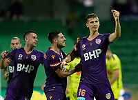 7th February 2020; HBF Park, Perth, Western Australia, Australia; A League Football, Perth Glory versus Wellington Phoenix; Tomislav Mrcela of the Perth Glory celebrates scoring in the 43rd minute to give Perth Glory a 1-0 lead
