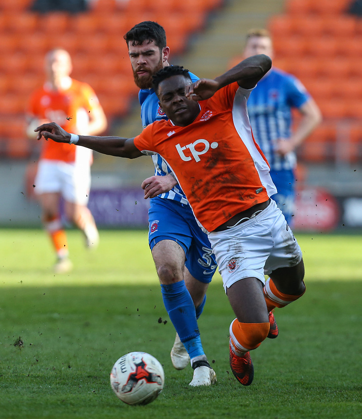Hartlepool United's Liam Donnelly brings down Blackpool's Bright Osayi-Samuel <br /> <br /> Photographer Alex Dodd/CameraSport<br /> <br /> The EFL Sky Bet League Two - Blackpool v Hartlepool United - Saturday 25th March 2017 - Bloomfield Road - Blackpool<br /> <br /> World Copyright &copy; 2017 CameraSport. All rights reserved. 43 Linden Ave. Countesthorpe. Leicester. England. LE8 5PG - Tel: +44 (0) 116 277 4147 - admin@camerasport.com - www.camerasport.com