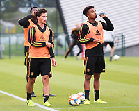 20190903 – TUBIZE , BELGIUM : Belgian Dante Vanzeir (left) and Killian Sardella (right) are  pictured during a training session of the U21 youth team of the Belgian national soccer team Red Devils , a training session as a preparation for their first game against Wales in the qualification for the European Championship round in group 9 on the road for Hungary and Slovenia in 2021, Tuesday 3rd of September 2019 at the National training grounds in Tubize , Belgium. PHOTO SPORTPIX.BE | Sevil Oktem