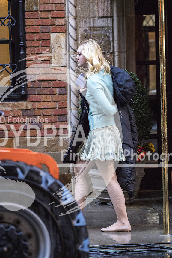 New York<br /> ************WORLD MANAGED******<br /> PICTURES BY JUSTIN/<br /> ----------------------------------<br /> Elle Fanning taking a break while filming the latest Woody Allen movie<br /> -----------------------------------