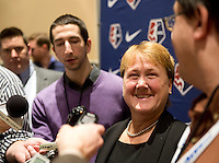 NWSL commissioner Cheryl Bailey talks to the media during the NWSL draft at the Pennsylvania Convention Center in Philadelphia, PA, on January 17, 2014.
