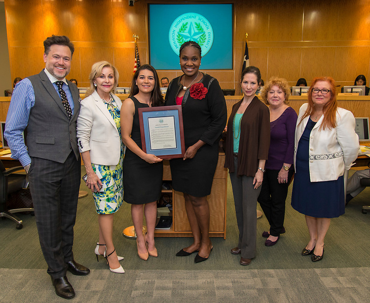 Houston ISD Trustee Wanda Adams recognizes members of the Denali Foundation during a Houston ISD Board of Trustee meeting, May 11, 2017.