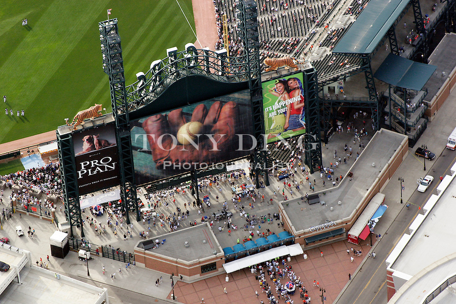 "Photograph taken from on board the Akron, Ohio based ""Spirit of Goodyear"" airship on Monday, July 11, 2005 as it headed out to the start of the 2005 Major League Baseball All-Stars Homerun Derby at Comerica Park in downtown Detroit, Mich. (Photo by Tony Ding)."