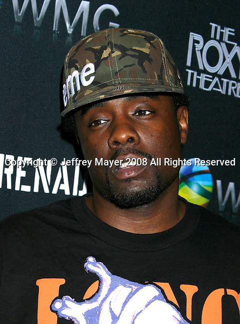 Rapper Wale arrives at Flo Live Mobile TV Presents X-Games After Party presented by  Flo Live Mobile TV at The Roxy on August 1, 2008 in West Hollywood, California.