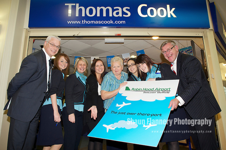 Pix: Shaun Flannery/shaunflanneryphotography.com...COPYRIGHT PICTURE>>SHAUN FLANNERY>01302-570814>>07778315553>>..11th January 2011................Robin Hood Airport Doncaster Sheffield..Thomas Cook Travel agents, Meadowhall, Sheffield..Craig Richmond (left), CEO Peel Airports Limited and Mike Morton (right), Robin Hood Airport Director with L-R Emily Deardon, Sarah Willoughby, Kate Waiton of RHA, Hillary Kirkbride, Chrisoulla Eieftheriou, Katie Hammerton.