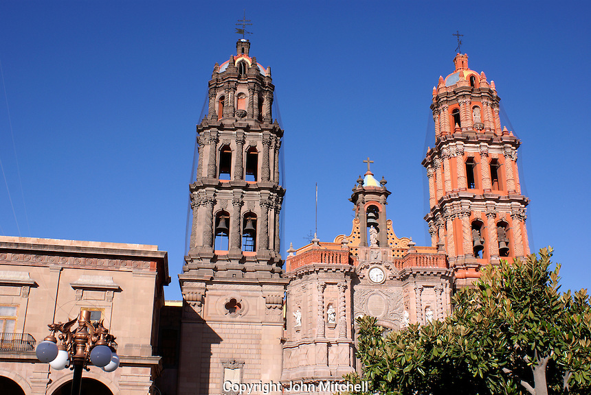 Cathedral and adjacent Municipal Palace in the city of San Luis de Potosi, Mexico