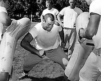 "San Francisco 49er great Leo ""The Lion"" Nomellini at 1963 training camp at St. Mary's College in Moraga, Ca. (photo 1963 by Ron Riesterer)"