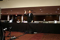 """Former United States Deputy Attorney General Rod Rosenstein is sworn in during a US Senate Judiciary Committee hearing to discuss the FBI's """"Crossfire Hurricane"""" investigation on Wednesday, June 3, 2020.<br /> Credit: Greg Nash / Pool via CNP/AdMedia"""