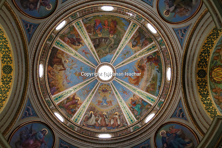 Haifa, the painted ceiling of the Church at the Carmelite Stella Maris Monastery on Mount Carmel, the Church was built over the remains of churches from the Byzantine and Crusader periods