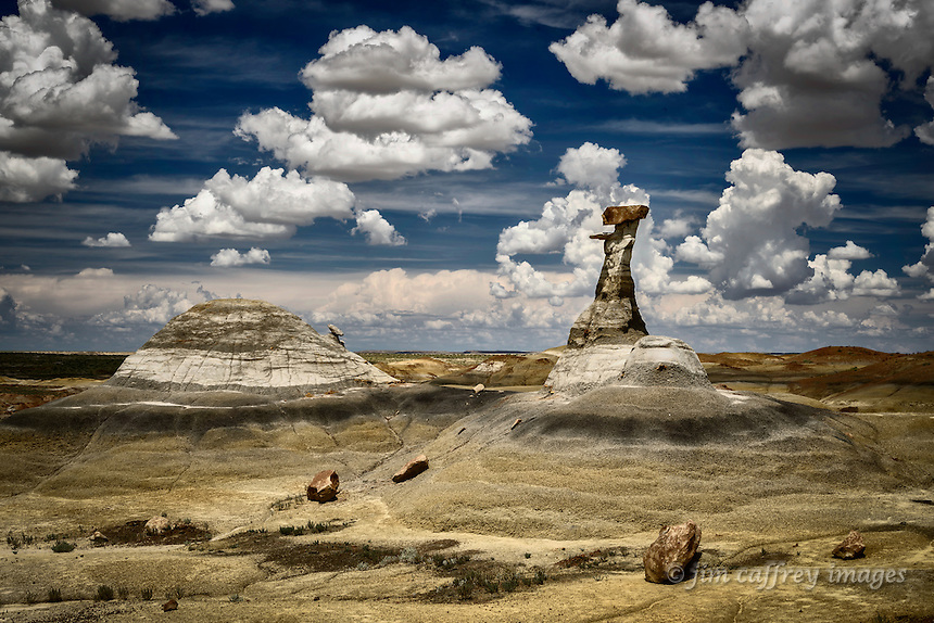 A delicately balanced hoodoo in the Burnham Badlands in New Mexoco's San Juan Basin