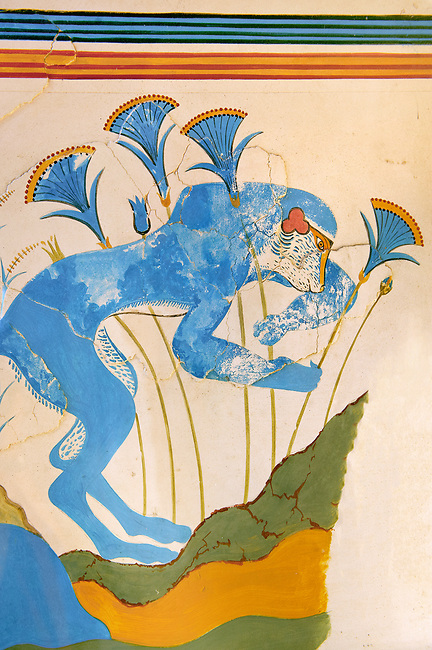 The 'Blue Monkey' Minoan fresco, reconstructed at Knossos Archaeological Site, Crete