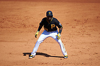 Pittsburgh Pirates second baseman Alen Hanson (59) leads off first base during a Spring Training game against the Boston Red Sox on March 9, 2016 at McKechnie Field in Bradenton, Florida.  Boston defeated Pittsburgh 6-2.  (Mike Janes/Four Seam Images)