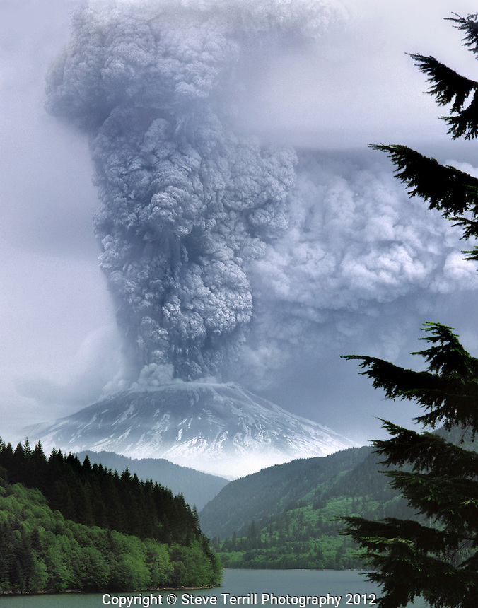 Mt. St. Helens viewed from Yale Lake on May 18th 1980