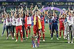 Olympique Lyonnais' players celebrate the victory in the UEFA Women's Champions League 2015/2016 Final match.May 26,2016. (ALTERPHOTOS/Acero)