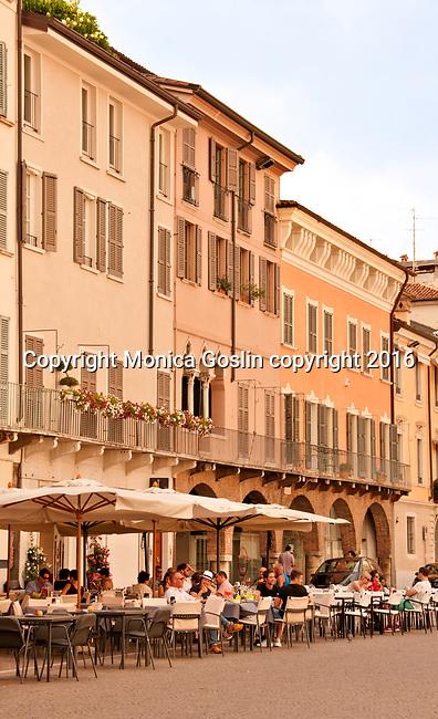 Cafes on Piazza del Duomo in Brescia, Italy