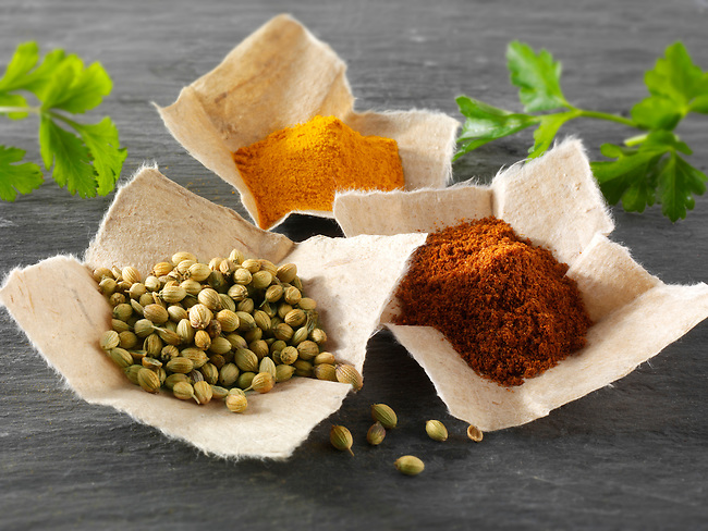 Coriander seeds, ground chilli powder & ground turmeric Indian spices