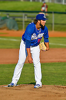 Ogden Raptors starting pitcher Miguel Urena (52) looks for the sign against the Idaho Falls Chukars in Pioneer League action at Lindquist Field on June 28, 2016 in Ogden, Utah. The Raptors defeated the Chukars 12-11.  (Stephen Smith/Four Seam Images)