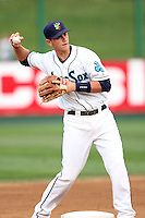 Everett Aquasox infielder Marcus Littlewood #9 during game against the Vancouver Canadians at Everett Memorial Stadium on August 8, 2011 in Everett,Washington. Everett defeated Vancouver 5-1.(Larry Goren/Four Seam Images)