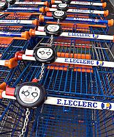 Trolleys outside supermarket E Leclerc..©shoutpictures.com..john@shoutpictures.com