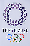 The new Tokyo 2020 Olympic Games logo on display at the Tokyo Metropolitan building on April 27, 2016, Tokyo, Japan. After scraping the original design last year due to accusations of plagiarism; The Tokyo 2020 Logo Selection Committee settled this week on a simple indigo-and-white checkered circle design by Asao Tokolo as a new emblem for the 2020 Summer Olympic Games. The final decision was announced on Monday 25th April after the selection committee had checked through almost 15,000 design proposals. The new logos are already starting to appear on Tokyo 2020 related communications. (Photo by Rodrigo Reyes Marin/AFLO)