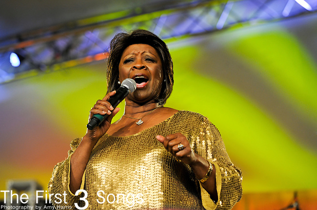 Irma Thomas performs with Ingrid Lucia's New Orleans Night Crawlers during The Voodoo Experience at City Park in New Orleans, Louisiana.