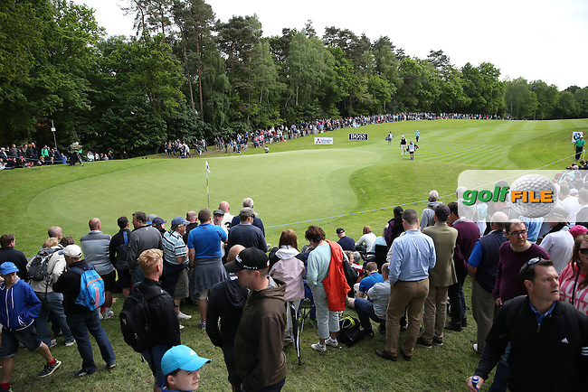 View of the 17th during Round Three of the 2015 BMW PGA Championship over the West Course at Wentworth, Virginia Water, London. 23/05/2015. Picture David Lloyd | www.golffile.ie.