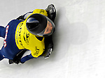 15 December 2006: Katie Uhlaender from the USA, banks through a turn at the FIBT Women's World Cup Skeleton Competition at the Olympic Sports Complex on Mount Van Hoevenburg  in Lake Placid, New York, USA. Uhlaender took first place at the FIBT event. &amp;#xA;&amp;#xA;Mandatory Photo credit: Ed Wolfstein Photo<br />