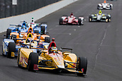 May 28th Indianapolis Speedway, Indiana, USA;  Ryan Hunter-Reay, driver of the #28 Andretti Autosport Honda, leads the field during the running of the 101st Indianapolis 500 on May 28th, 2017 at the Indianapolis Motor Speedway in Indianapolis, IN.