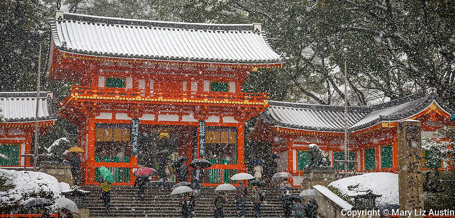 Kyoto City, Japan<br /> Yasaka Shrine, Gion district, vermilion gate in snow